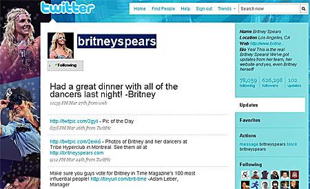 Britney Spears bei Twitter