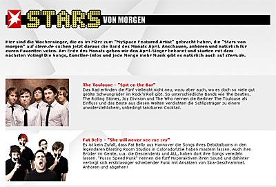 Stern und MySpace - Stars von morgen